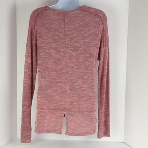 Miss Chievous Tops - Pink Knit Long Sleeve Top w/ Lace Front